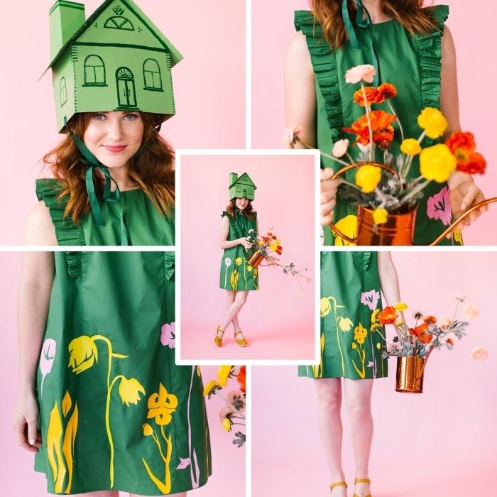 exemple de deguisement a faire soi meme facile, costume vert DIY en robe et chapeau en carton à design maison verte