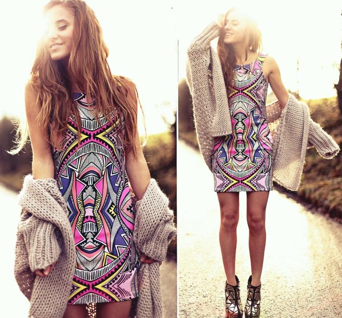 Vetement boheme, tenue décontractée chic pour femme qui veut se différer, gilet grosse maille et robe d'été hippie chic