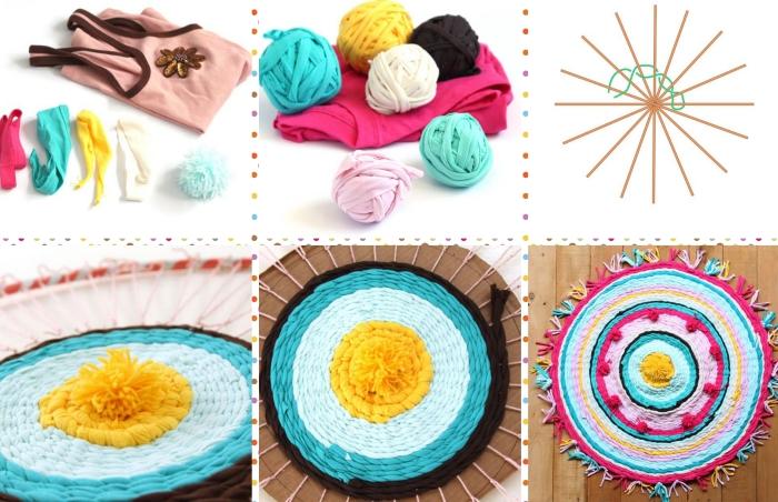 idée comment réaliser un joli tapis multicolore avec décoration en pompons et tassels, modèle de tapis rond diy