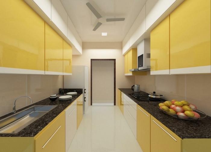 exemple quelles couleurs dans une petite cuisine, modèle cuisine face à face, photo cuisine en parallèle blanc et jaune