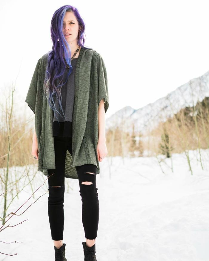 Tenue boheme chic vetement boheme, mode hiver 2018-2019 style hippie chic, femme cheveux violets longues