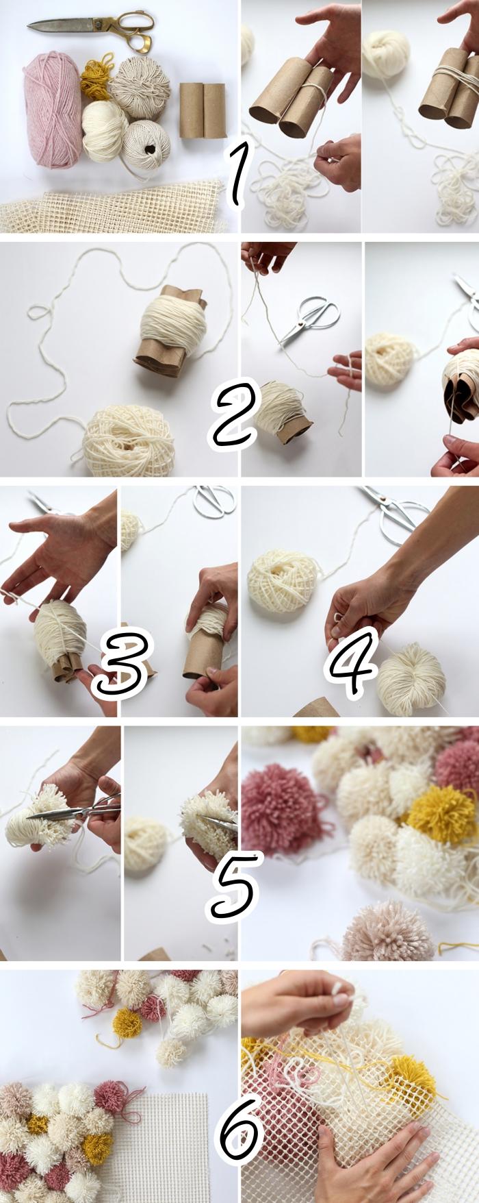 Deco Pompons En Laine ▷ 1001 + projets créatifs pour fabriquer un tapis merveilleux