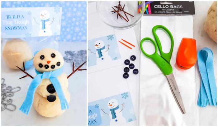 un bonhomme de neige en pâte à modeler faite-maison idéal à offrir comme cadeau d'invité