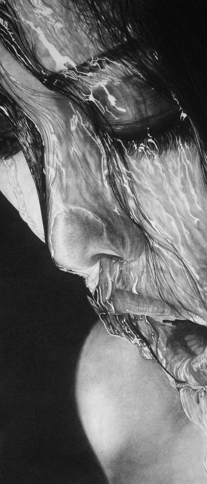 Portrait fusain, dessin pour debutant, étape par étape apprendre les dessins, portrait de femme dans eau, reproduire une photo en image au fusain