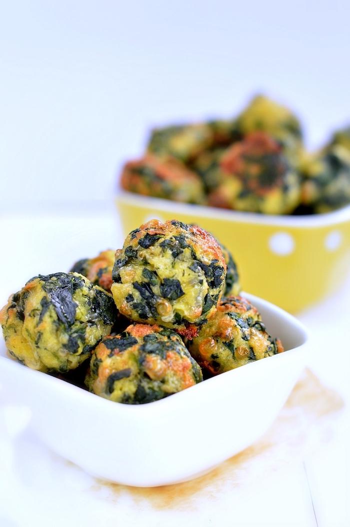 boulettes aux épinards et fromages, recette simple et originale pour un gouter rapide, idée recette végétarienne enfant