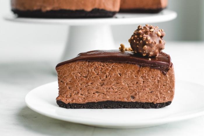 recette de cheesecake ferrero rocher sans cuisson au nutella avec une ganache au chocolat