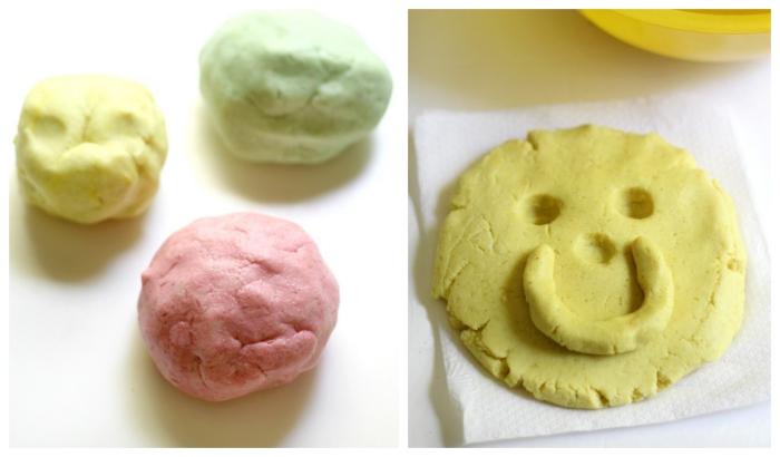 recette de pâte à modeler naturelle, sans danger à la farine sans gluten, crème de tartre, sel et huile de coco