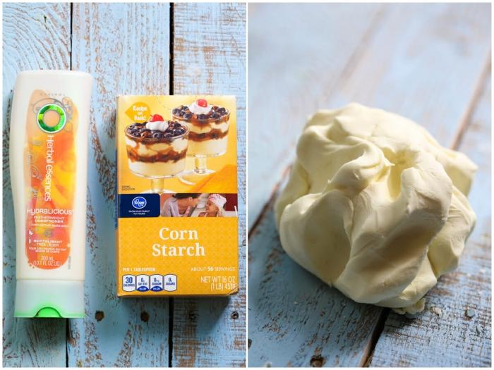 pâte à modeler faite maison réalisée avec seulement deux ingrédients, à la fécule de maïs et à l'après-shampooing, d'une texture ultra douce et légère