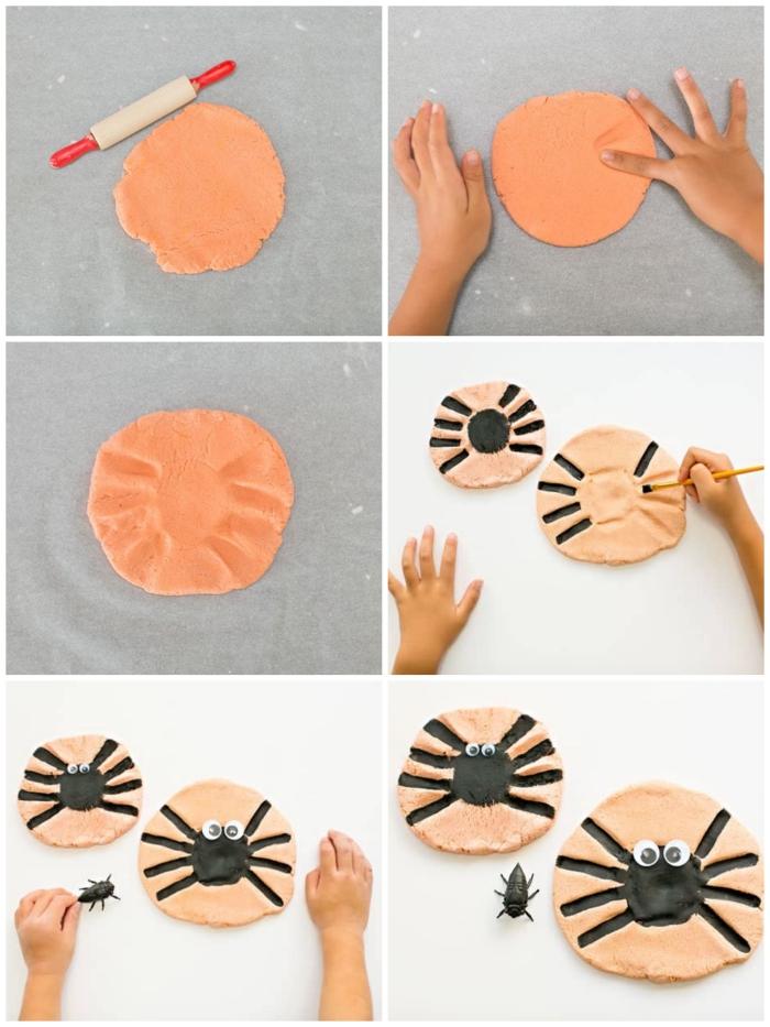 recette pate a sel sans cuisson, tuto pour faire des empreintes de mains araignée dans la pâte à sel, activité manuelle sur le thème d'halloween
