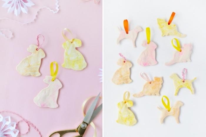 des ornements déco petits lapins de pâques réalisés en pate a sel recette sans cuisson, déco de pâques en pâte à sel