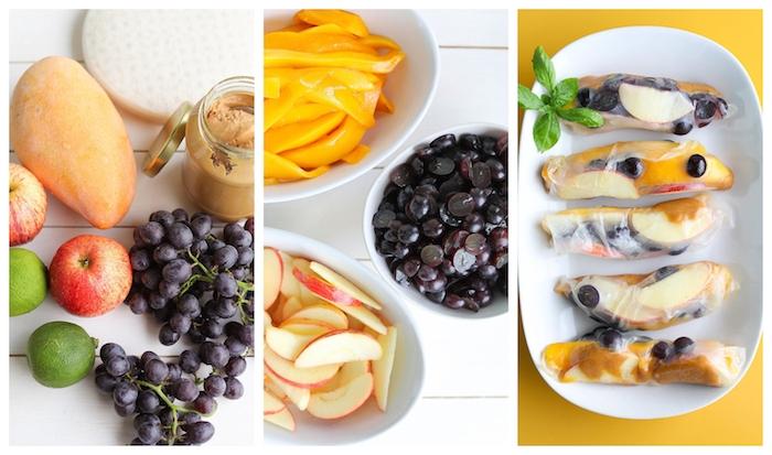 exemple rouleau de printemps au beurre de cacahuète et fruits, pomme, raisins et mangue, idée gouter