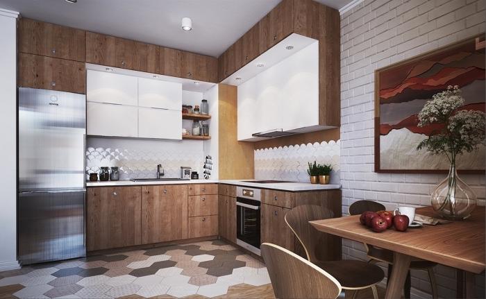 idée comment aménager une cuisine en L, modèle de cuisine d'angle avec meuble rangement ouvert et coin repas