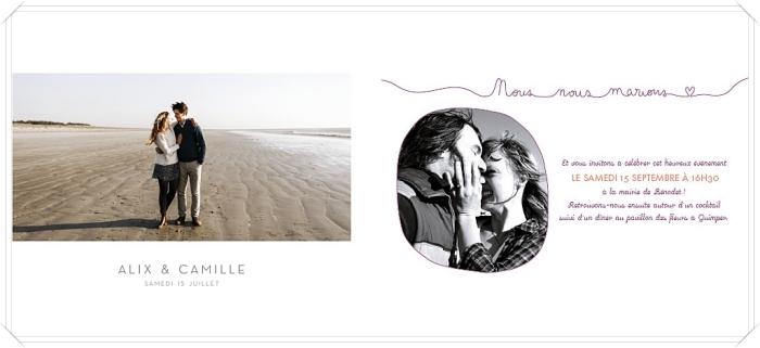 quel modèle de faire-part mariage choisir, exemple de carte invitation mariage avec photo paysage et prénoms