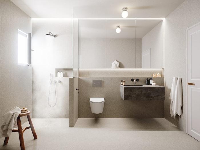 aménagement salle de bain espace ouvert avec douche italienne avec muret et vitre de séparation sur sol en béton ciré