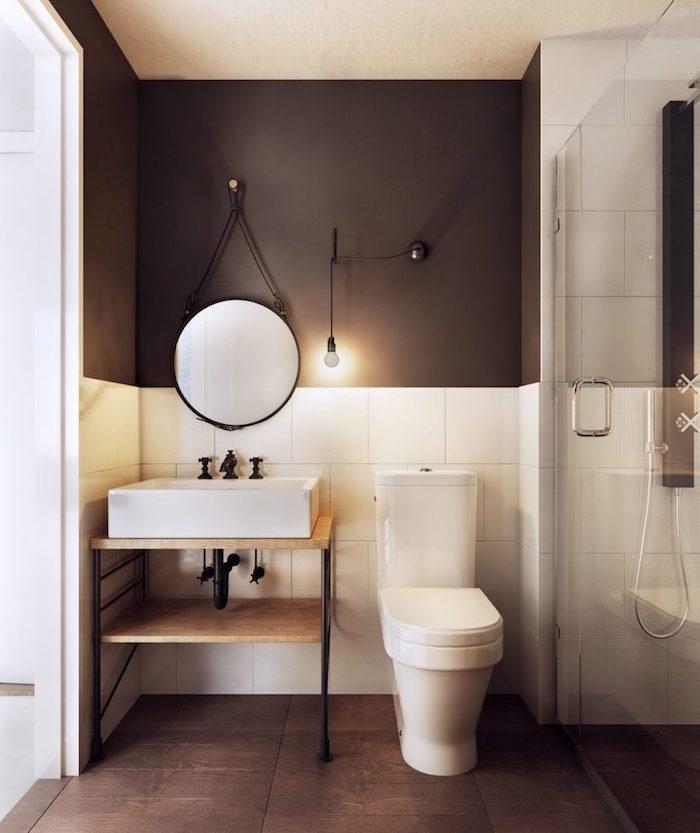 aménager une petite salle de bain avec douche italienne et toilettes et meuble vasque lavabo carré design style scandinave et déco marron blanc