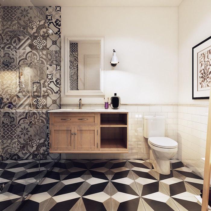 modele de salle de bain déco avec carrelage effet 3 dimensions avec meuble vasque en bois style scandinave douche italienne