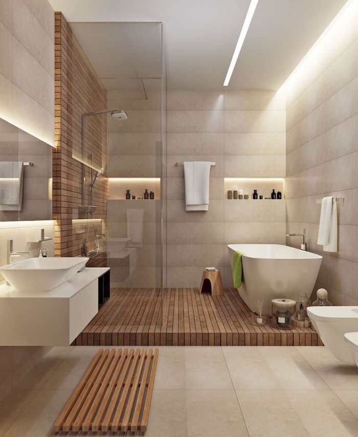 salle de bain design type déco scandinave avec douche italienne à sol en bois exotique, carrelage gris sur sol et mur