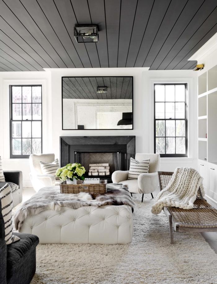 deco cocooning qui transforme ce salon blanc et noir de style campagne chic en nid douillet