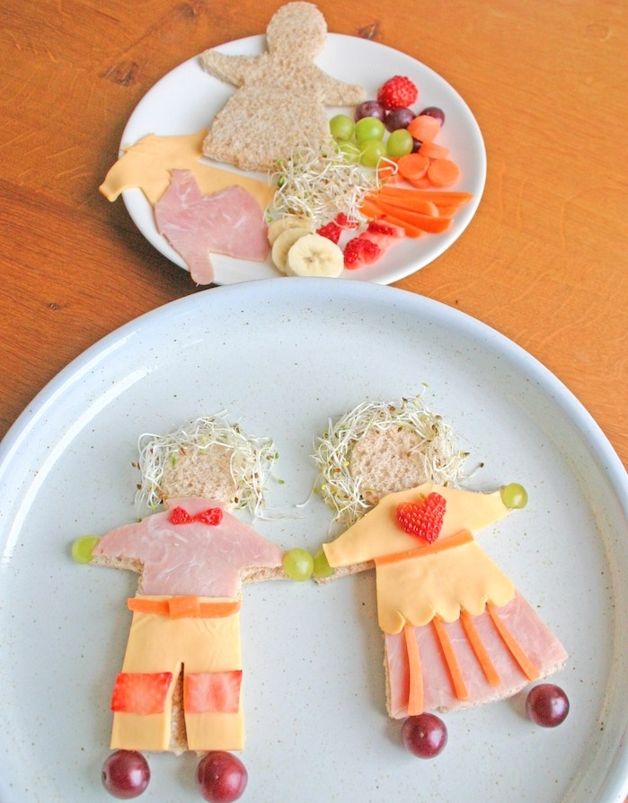 sandwich bonhomme en pain en forme de bonhomme, jambon, fromage, fruits et légumes, recette anniversaire gouter