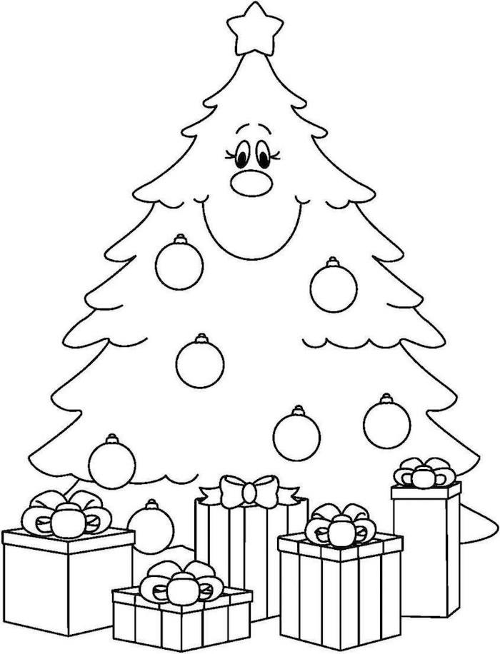 coloriage de sapin de noel et cadeaux comme activité maternelle et dessin à colorier facile