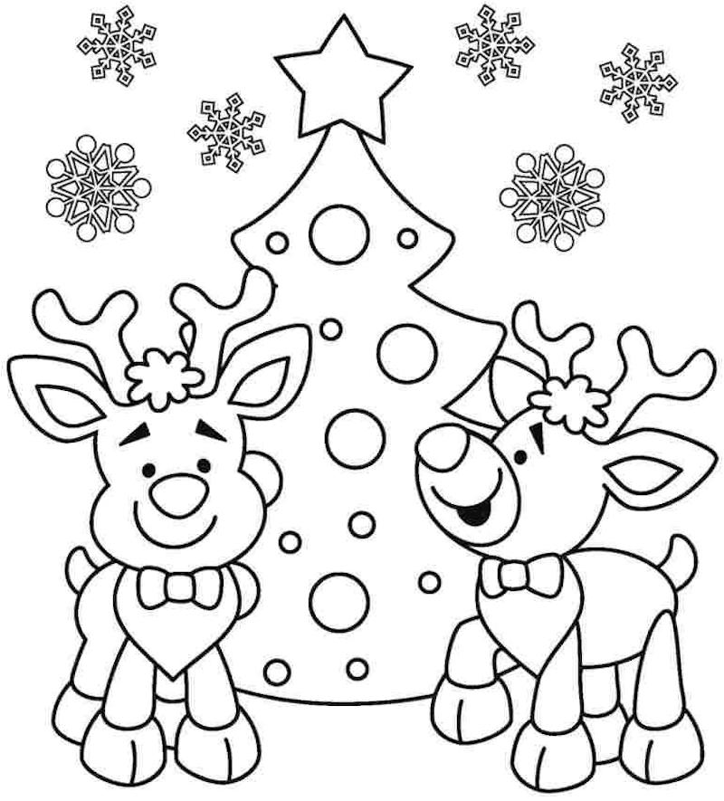 dessin renne de noel et sapin avec flocon de neige à colorier facilement par les enfants