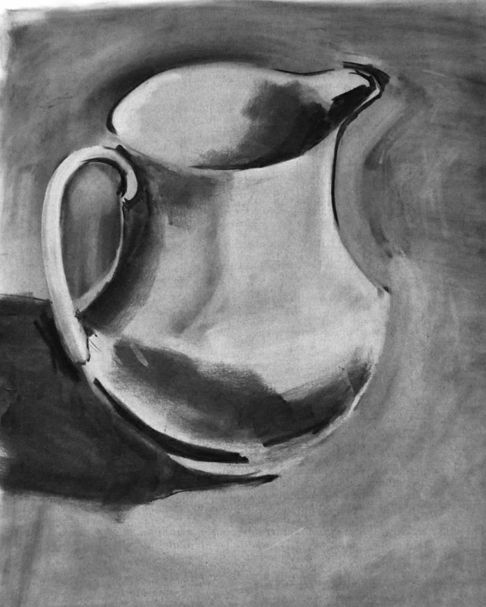 Dessin noir et blanc facile, dessin pour debutant, les dessins originaux, cruche d'eau noir et blanc image simple