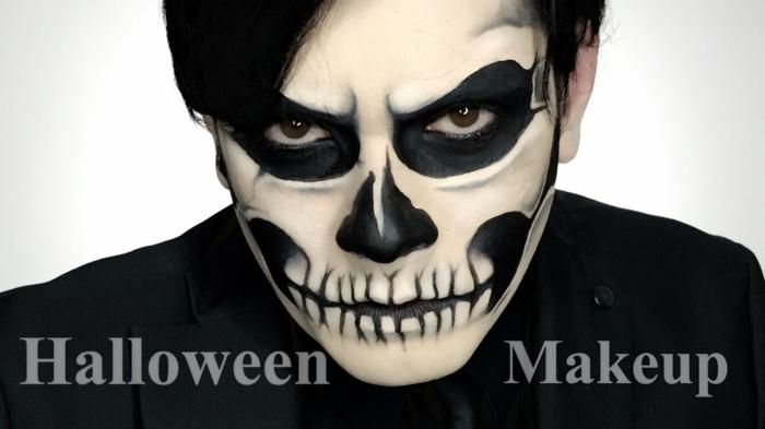maquillage tete de mort mexicaine, zones oculaires noires, dents dessinées sur la bouche, pommettes et nez en noir