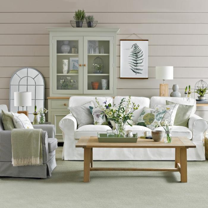 salon esprit campagne chic, table basse en bois, sofa blanc, miroir décoratif, dessin, buffet vitrine