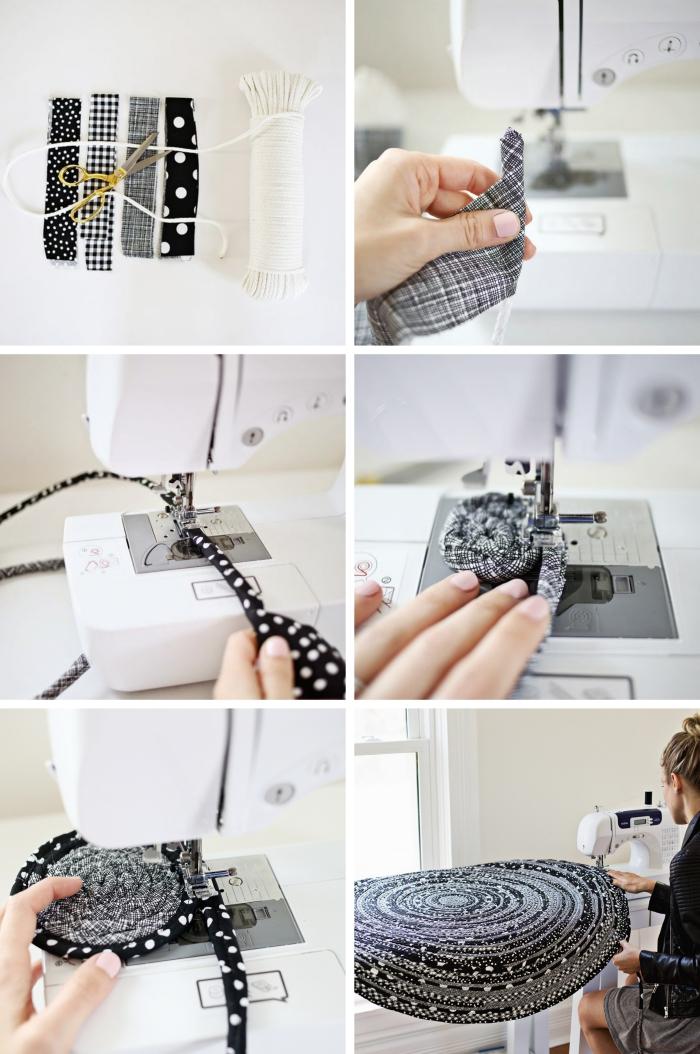 instructions pour apprendre comment coudre facilement un tapis en corde et tissu, tapis fait main en blanc et noir
