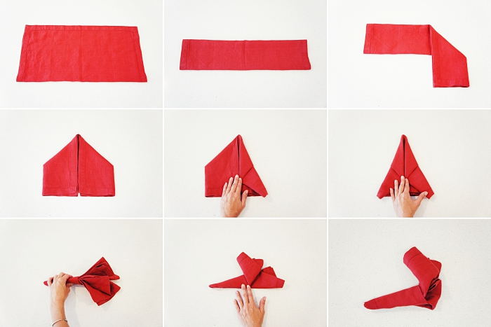 instructions en photo pour réaliser un pliage de serviette en tissu, astuce déco table de Noel avec serviette chausson rouge