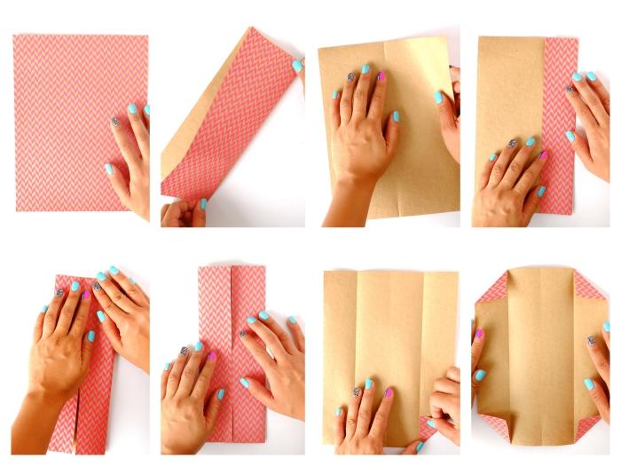 faire sa propre enveloppe pour carte cadeau en pliant du papier origami feuille a4 avec une technique de pliage simple