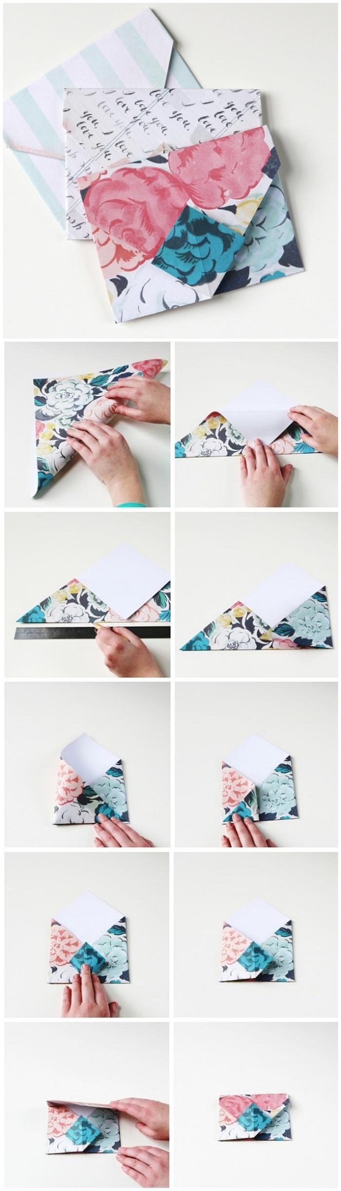 la technique de pliage enveloppe expliquée en photos, mini-enveloppe traditionnelle origami pour une carte de voeux personnalisée ou un bon cadeau