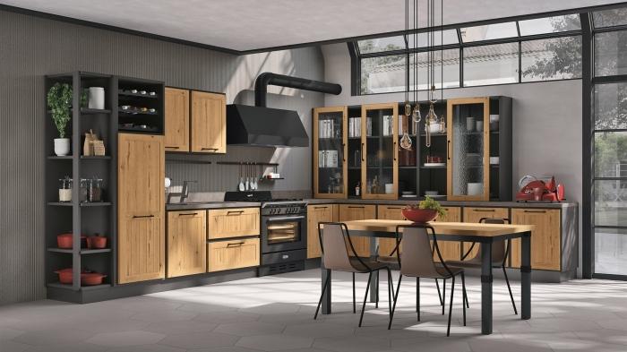 quelles couleurs associer dans une cuisine tendance moderne, exemple cuisine en L avec meubles bois et gris anthracite