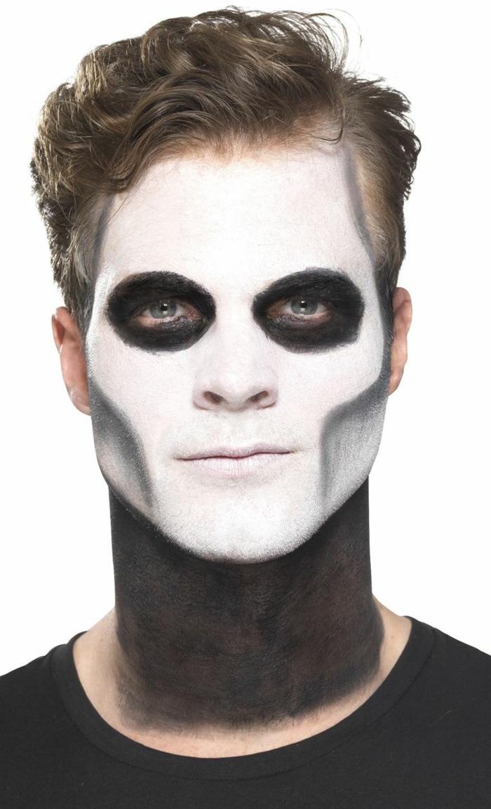 visage homme peint, orbites oculaires noires, maquillage simple mais à grand effet, cou noir, visage pâle