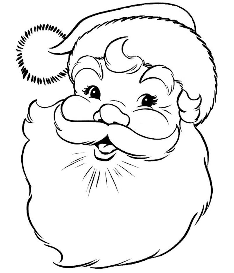 dessin tete de pere noel content avec barbe et bonnet comme coloriage de noel à imprimer