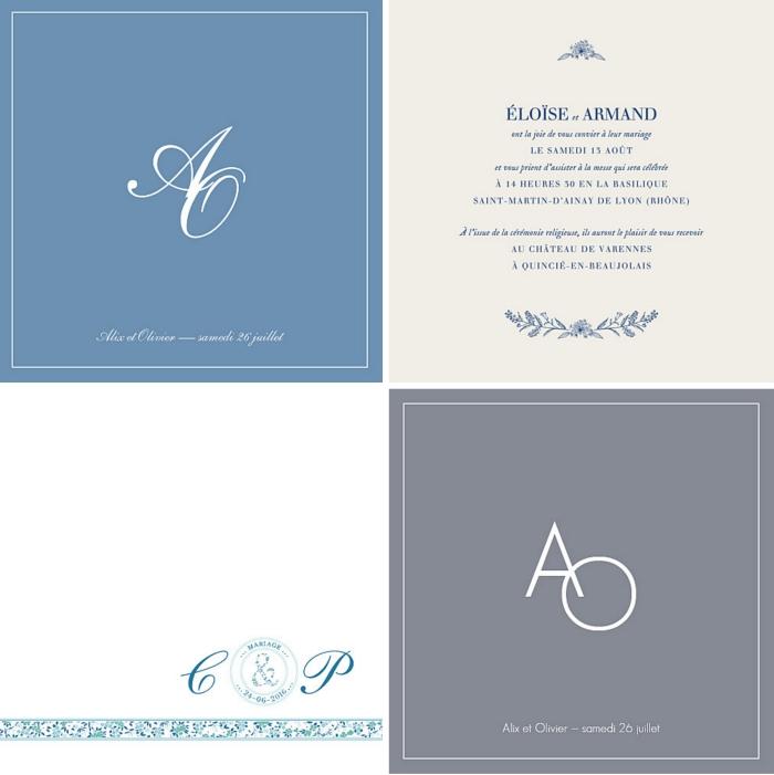 idée carte invitation mariage classique à fond couleur neutre avec initiales, modèle de faire part mariage avec texte original