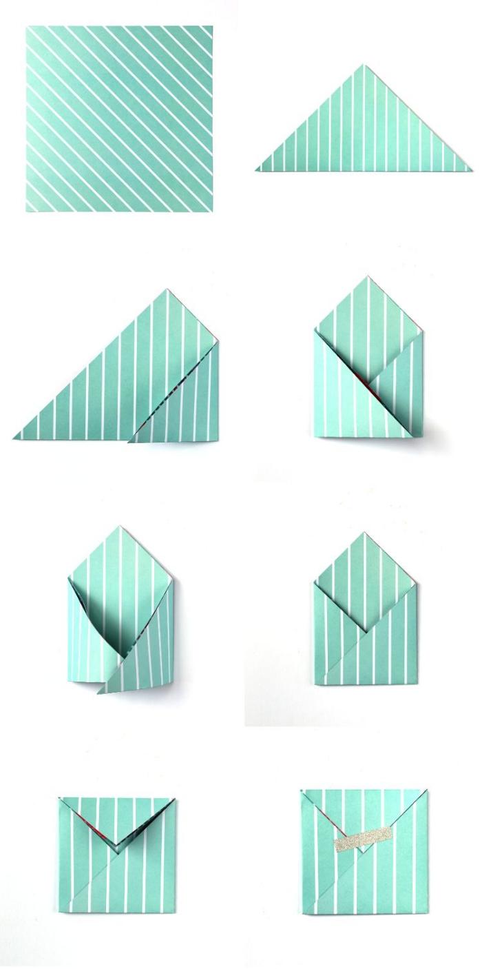 les étapes de pliage facile pour fabriquer une enveloppe à partir d'une feuille carrée motif rayures, jolie pochette-enveloppe pour vos cartes de voeux et vos bons cadeaux