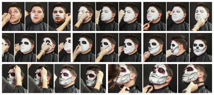 maquillage halloween homme facile, tête de mort avec peintures visage noire et blanche, crâne de sucre mexicain