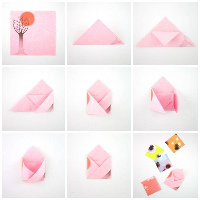 les instructions de pliage enveloppe en version mini réalisée avec un joli papier à motif japonais coucher de soleil