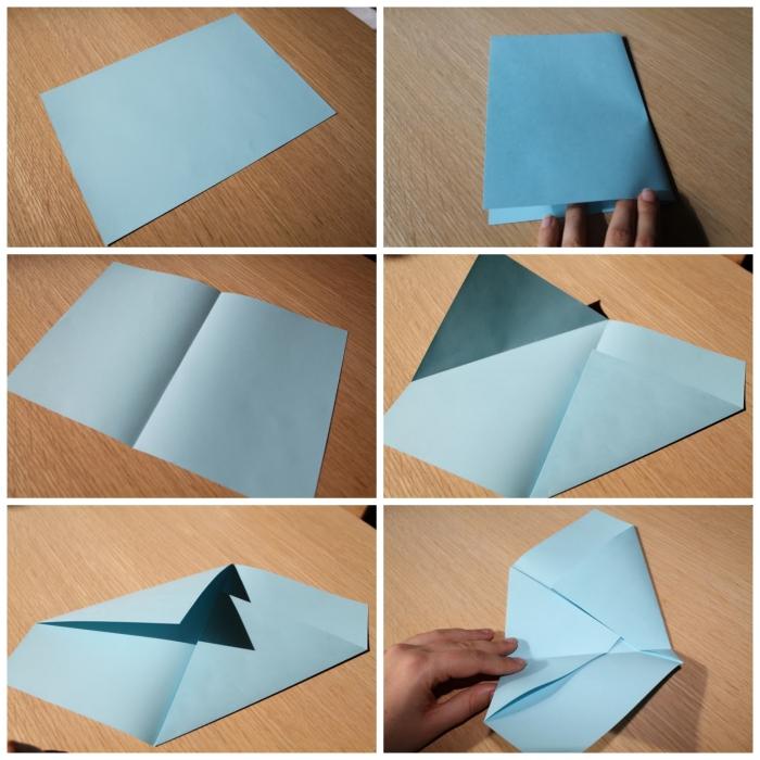 tuto pliage origami pour faire une enveloppe avec une feuille a4, modèle d'enveloppe-pochette asymétrique