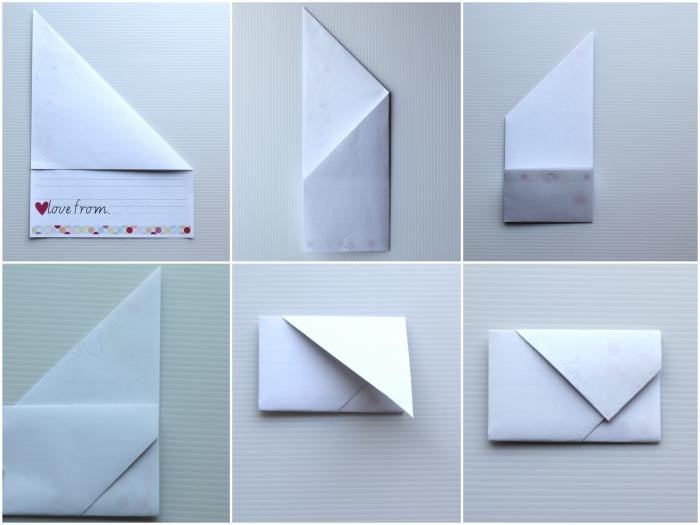 modèle origami feuille a4, comment transformer une lettre en enveloppe, une même feuille pour faire une lettre et une enveloppe