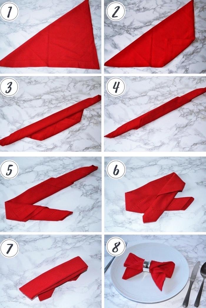 étapes à suivre pour réaliser une jolie déco de table avec pliage serviette papier ou en tissu, modèle serviette en forme papillon rouge