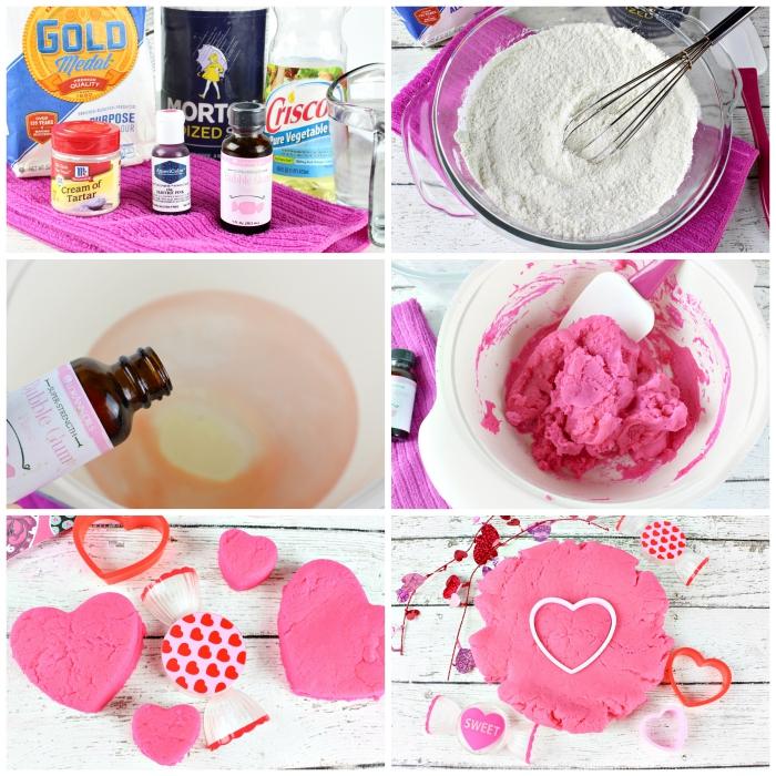 tuto étape par étape pour préparer de la pate a modeler recette spécial saint-valentin, parfumée à l'arôme de chewing gum