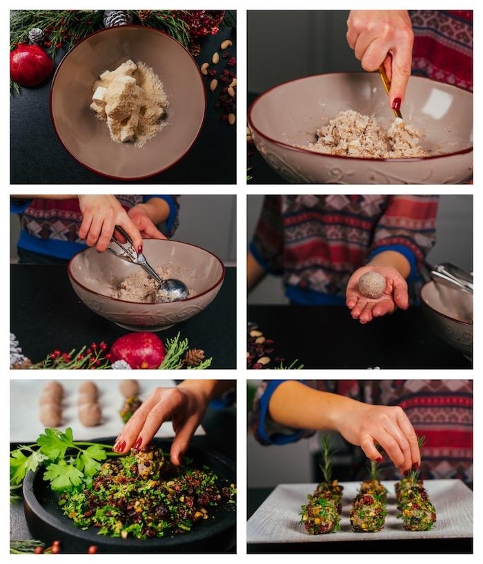 apero noel chic a faire avec fromages et un nappage de canneberges séchées, persil haché et pistaches
