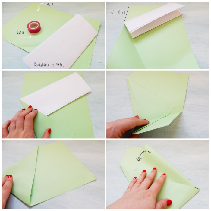 modèle de pliage origami feuille a4, comment faire une enveloppe asymétrique à personnaliser