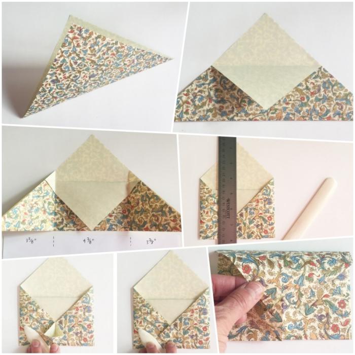 modèle d'enveloppe facile avec une base de carré plié en triangle, instructions de pliage en photos, comment faire une enveloppe en papier cadeau