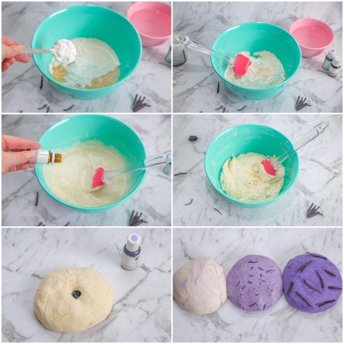 recette de pâte à modeler sensorielle calmante à l'huile essentielle de lavande et aux fleurs séchées de lavande