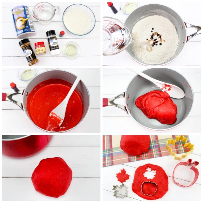 recette pâte à modeler maison spécial automne qui sent la tarte à la pomme, à la farine, crème de tartre et au sel, parfumée à la cannelle et à la noix indienne