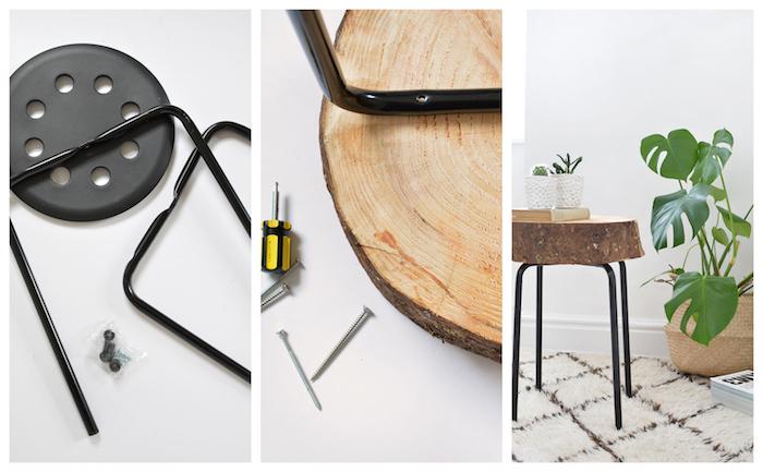 comment faire une table basse rondin de bois en rondin et pieds metalliques à monter, style scandinave recup