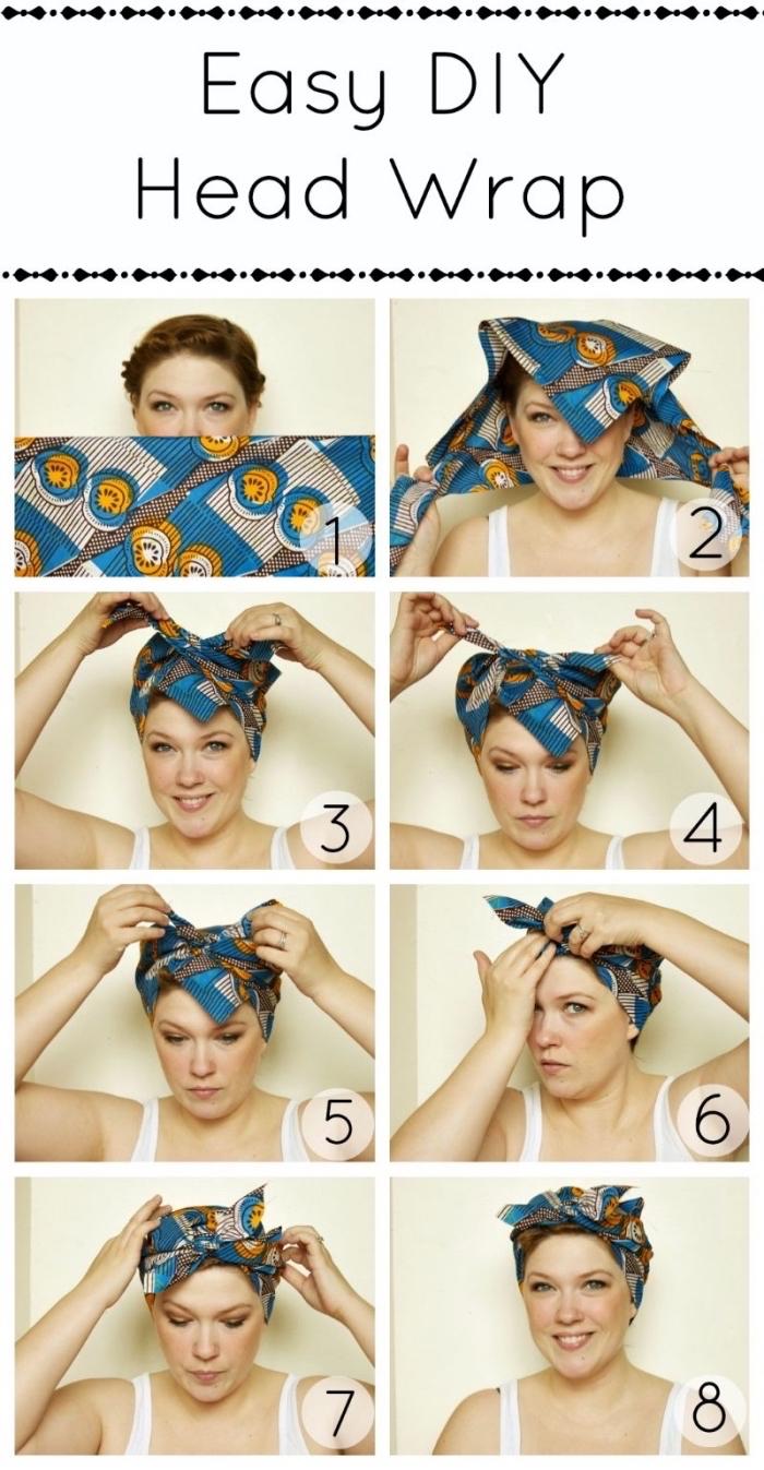 étapes à suivre pour réaliser une coiffure facile avec foulard, idée coiffure aux cheveux attachés avec accessoire de tête